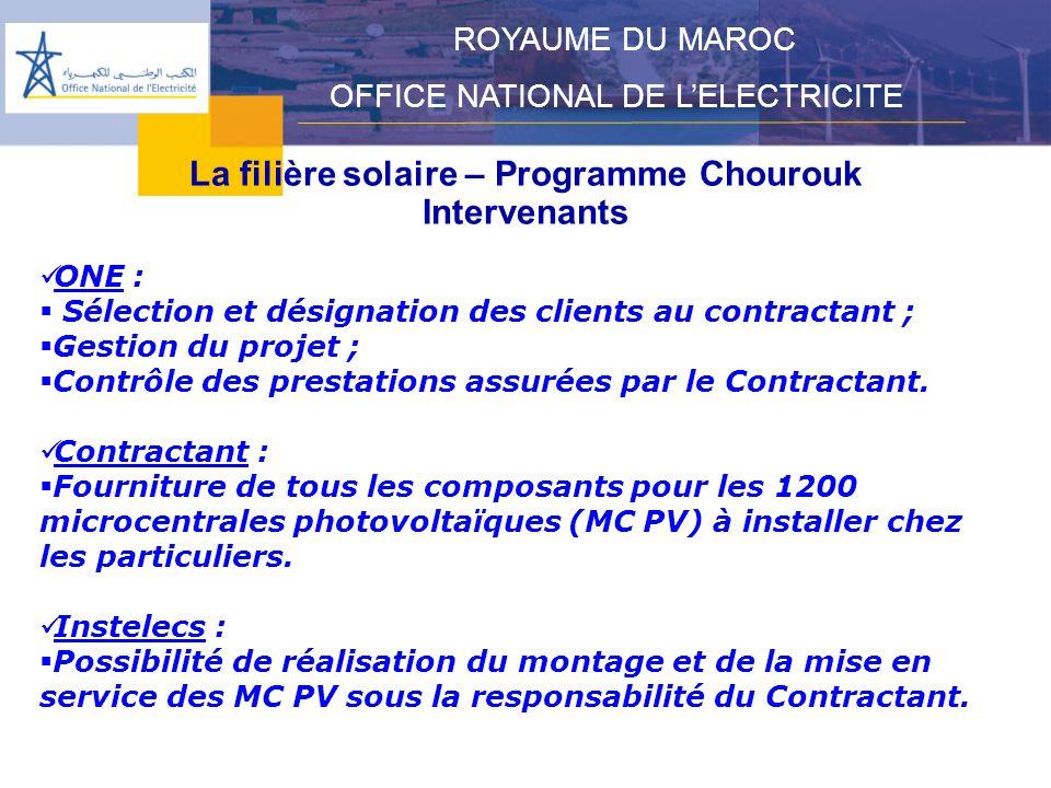 La filière solaire – Programme Chourouk Intervenants ROYAUME DU MAROC OFFICE NATIONAL DE LELECTRICITE ONE : Sélection et désignation des clients au contractant ; Gestion du projet ; Contrôle des prestations assurées par le Contractant.