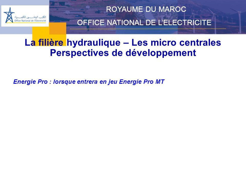 La filière hydraulique – Les micro centrales Perspectives de développement ROYAUME DU MAROC OFFICE NATIONAL DE LELECTRICITE Energie Pro : lorsque entrera en jeu Energie Pro MT