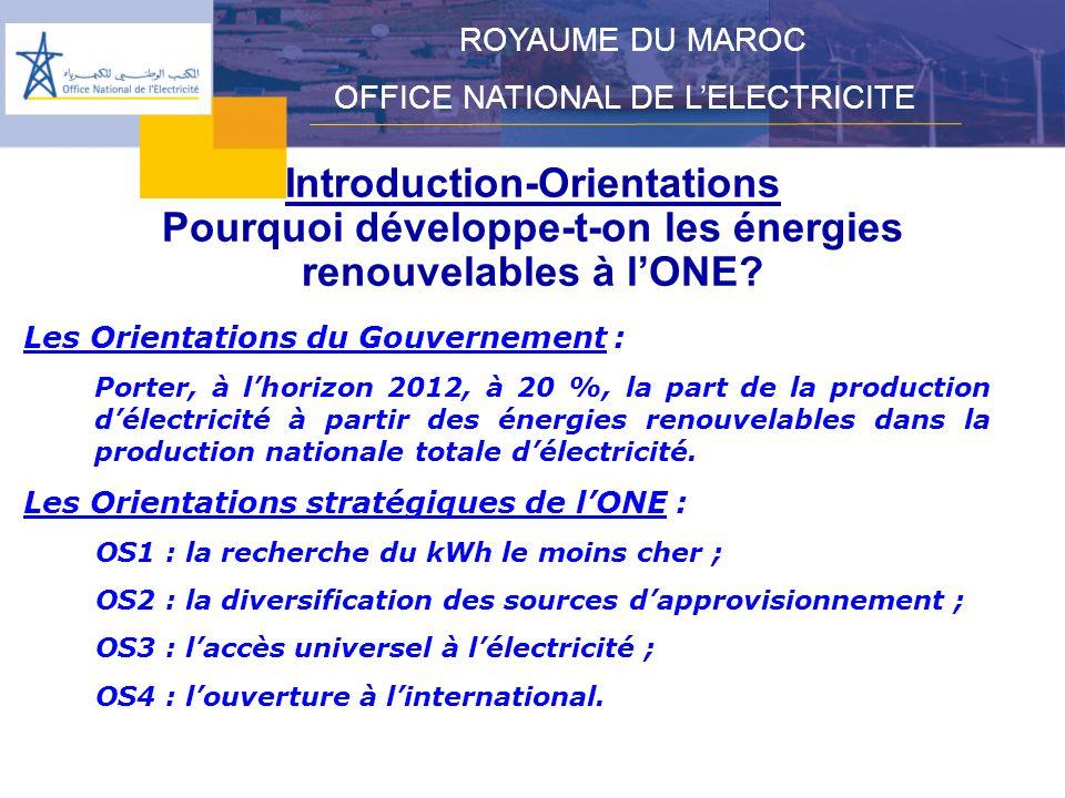 Les filières concernées ROYAUME DU MAROC OFFICE NATIONAL DE LELECTRICITE Léolien Le solaire Lhydraulique