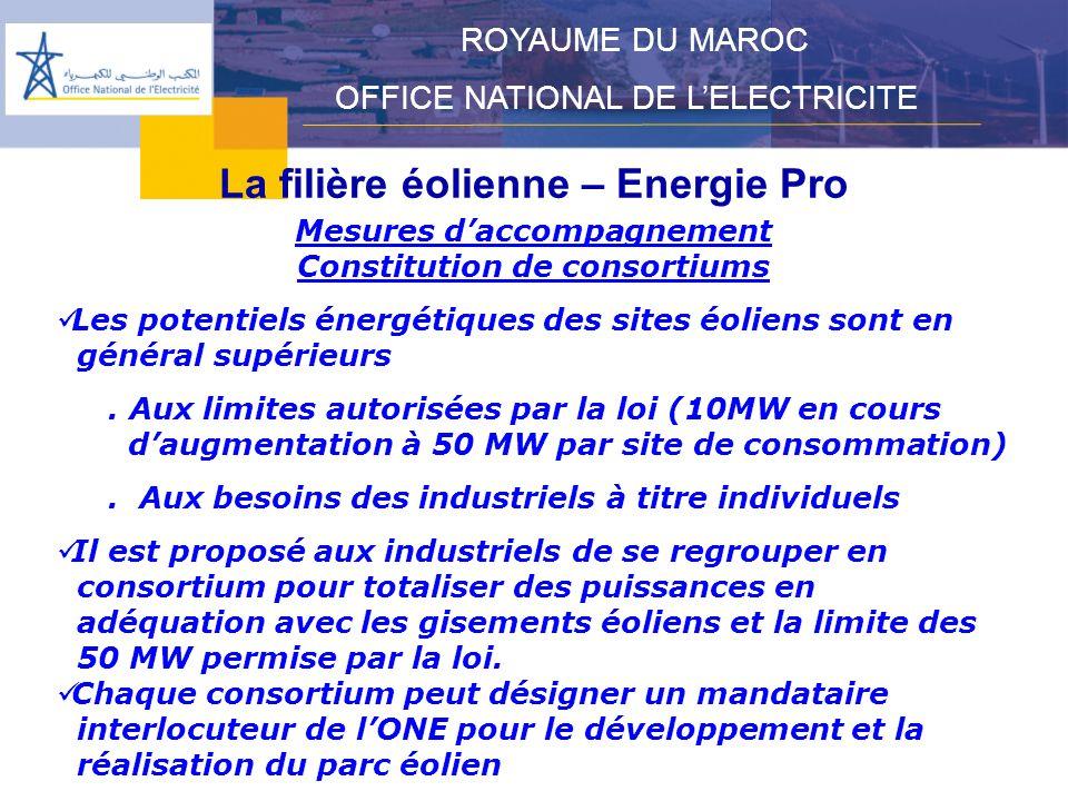 La filière éolienne – Energie Pro ROYAUME DU MAROC OFFICE NATIONAL DE LELECTRICITE Mesures daccompagnement Constitution de consortiums Les potentiels énergétiques des sites éoliens sont en général supérieurs.