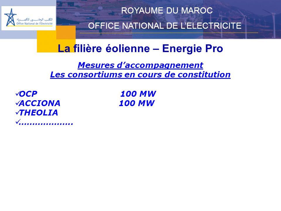 La filière éolienne – Energie Pro ROYAUME DU MAROC OFFICE NATIONAL DE LELECTRICITE Mesures daccompagnement Les consortiums en cours de constitution OCP 100 MW ACCIONA 100 MW THEOLIA ………………..