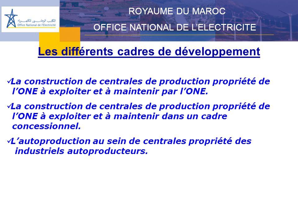 Les différents cadres de développement ROYAUME DU MAROC OFFICE NATIONAL DE LELECTRICITE La construction de centrales de production propriété de lONE à exploiter et à maintenir par lONE.