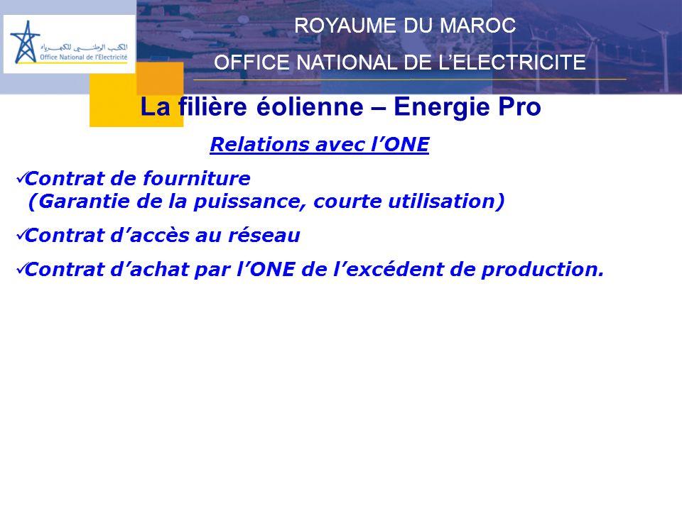 La filière éolienne – Energie Pro ROYAUME DU MAROC OFFICE NATIONAL DE LELECTRICITE Relations avec lONE Contrat de fourniture (Garantie de la puissance, courte utilisation) Contrat daccès au réseau Contrat dachat par lONE de lexcédent de production.