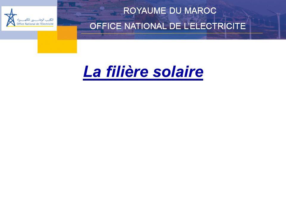 La filière solaire – Centrale thermo solaire de Aïn Béni mathar ROYAUME DU MAROC OFFICE NATIONAL DE LELECTRICITE Situation géographique : Aïn Béni Mathar (86 km au sud dOujda) Puissance installée: 472MW dont 20MW dorigine solaire Productible moy.ann : 3538 GWh/an dont 40 solaire Champ de miroirs cylindro-paraboliques : 183 000 m2/80ha Montant : 4.5 Milliards DH dont 840 Millions de Dhs pour le solaire Don de la Banque Mondiale (GEF) : 43.9 millions de US$ Mise en service : Avril 2009 cycle ouvert (TAG) Avril 2010 (cycle combiné et solaire) Économie de fioul : 11 200 t/an Évitement démission de CO2 : 33 200 t/an