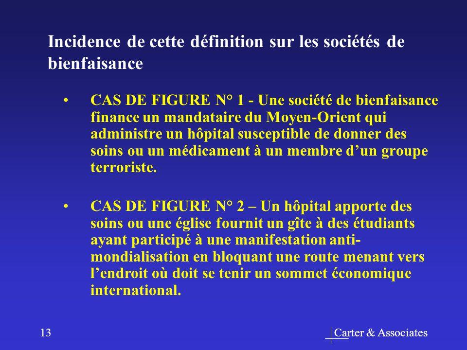 Carter & Associates13 CAS DE FIGURE N° 1 - Une société de bienfaisance finance un mandataire du Moyen-Orient qui administre un hôpital susceptible de donner des soins ou un médicament à un membre dun groupe terroriste.