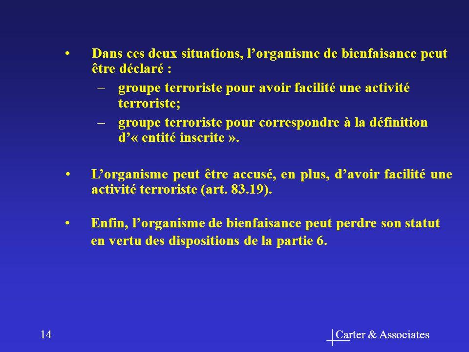 Carter & Associates14 Dans ces deux situations, lorganisme de bienfaisance peut être déclaré : –groupe terroriste pour avoir facilité une activité terroriste; –groupe terroriste pour correspondre à la définition d« entité inscrite ».