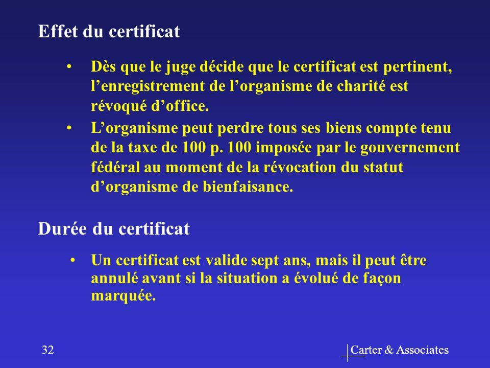 Carter & Associates32 Un certificat est valide sept ans, mais il peut être annulé avant si la situation a évolué de façon marquée. Durée du certificat