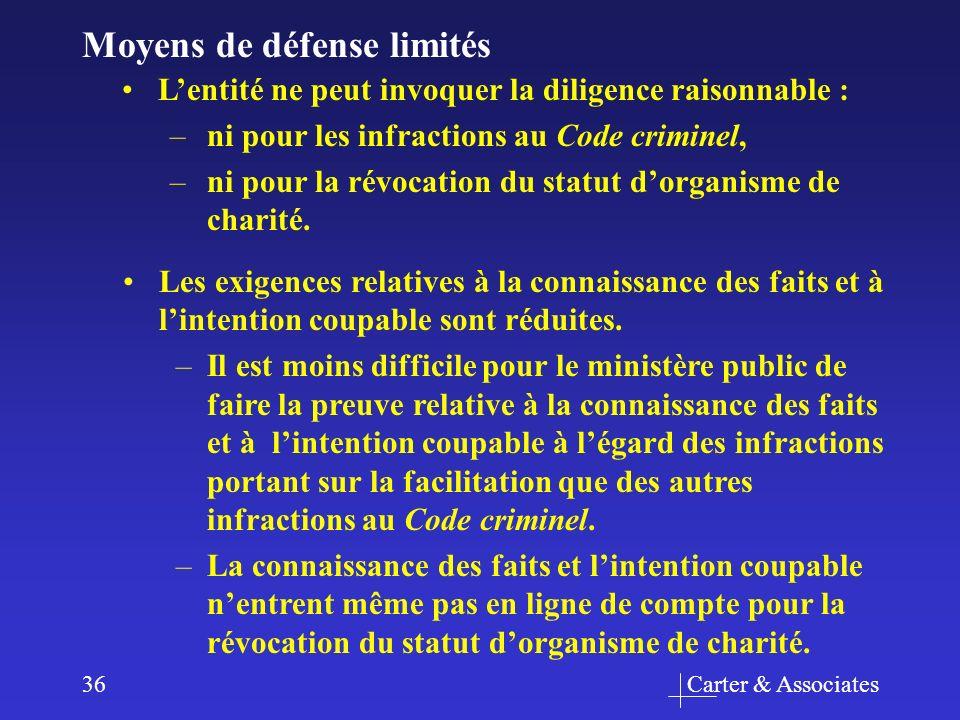 Carter & Associates36 Moyens de défense limités Les exigences relatives à la connaissance des faits et à lintention coupable sont réduites. –Il est mo