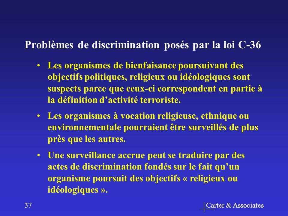 Carter & Associates37 Problèmes de discrimination posés par la loi C-36 Les organismes à vocation religieuse, ethnique ou environnementale pourraient être surveillés de plus près que les autres.