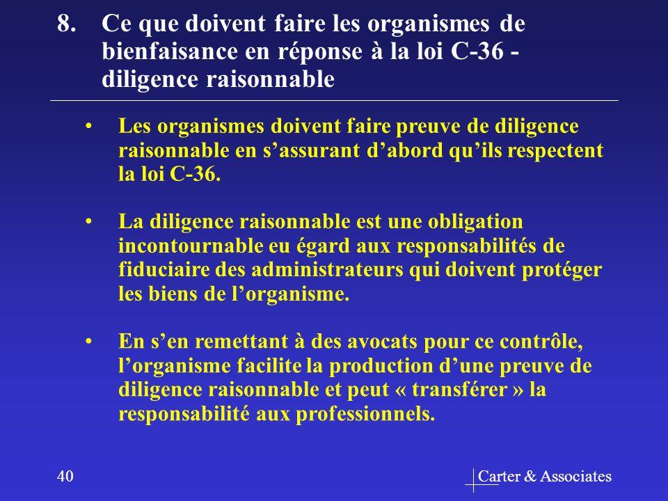 Carter & Associates40 8.Ce que doivent faire les organismes de bienfaisance en réponse à la loi C-36 - diligence raisonnable Les organismes doivent faire preuve de diligence raisonnable en sassurant dabord quils respectent la loi C-36.