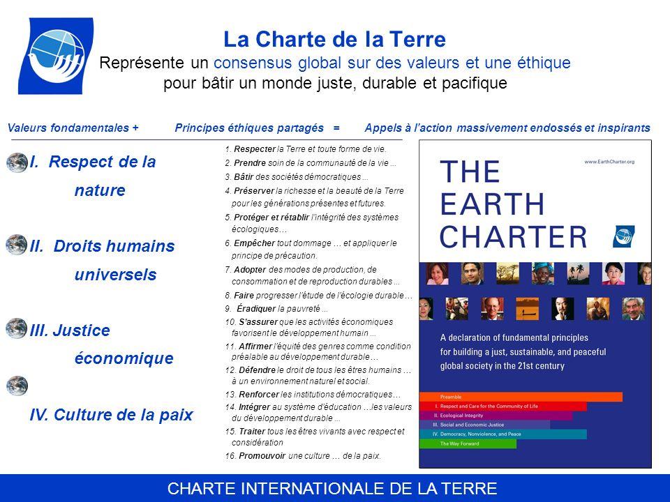 CHARTE INTERNATIONALE DE LA TERRE La Charte de la Terre Représente un consensus global sur des valeurs et une éthique pour bâtir un monde juste, durab