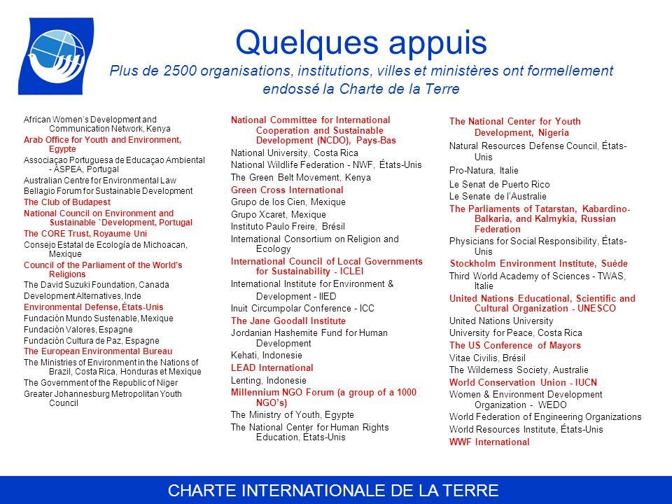 CHARTE INTERNATIONALE DE LA TERRE Quelques appuis Plus de 2500 organisations, institutions, villes et ministères ont formellement endossé la Charte de