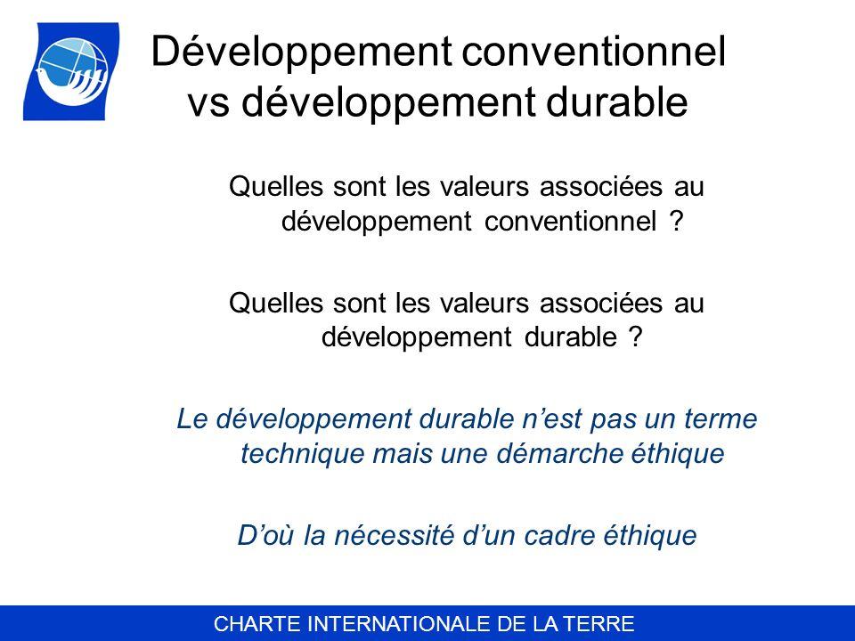 CHARTE INTERNATIONALE DE LA TERRE Développement conventionnel vs développement durable Quelles sont les valeurs associées au développement conventionn