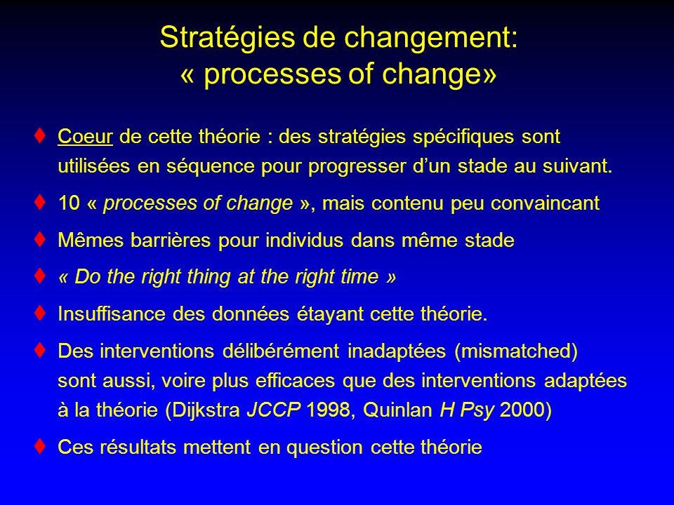 Stratégies de changement: « processes of change» Coeur de cette théorie : des stratégies spécifiques sont utilisées en séquence pour progresser dun stade au suivant.