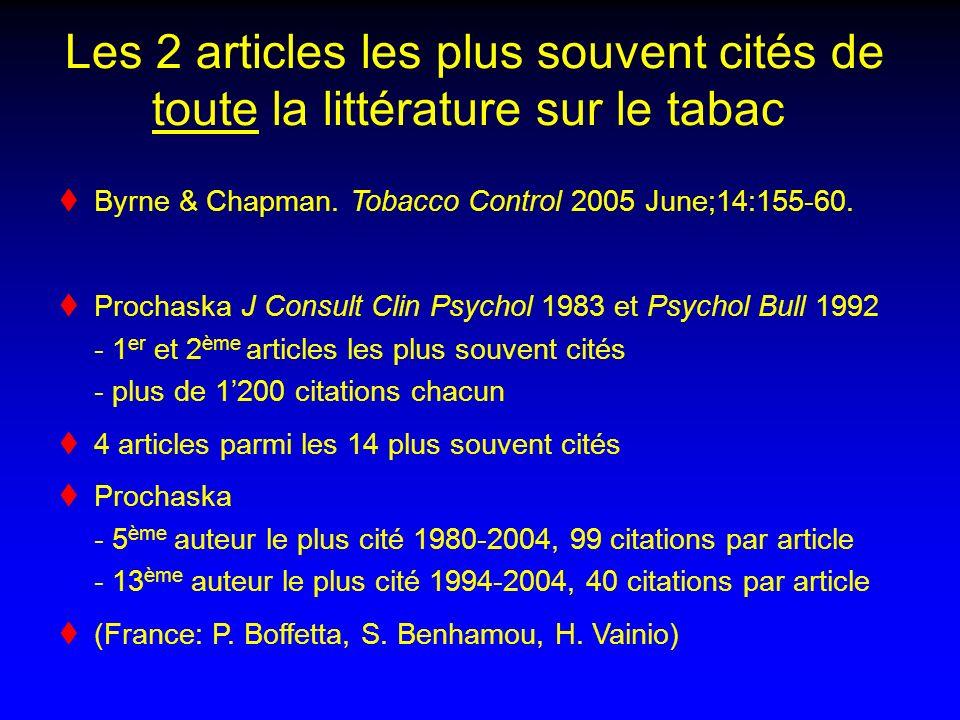 Les 2 articles les plus souvent cités de toute la littérature sur le tabac Byrne & Chapman.