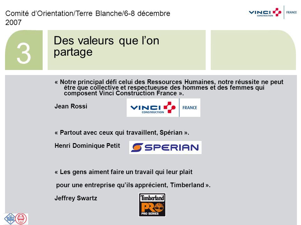 Comité dOrientation/Terre Blanche/6-8 décembre 2007 14 En conclusion « Tous nos produits et toutes nos actions visent à être la marque de qualité équipant ceux qui marque le monde de leurs empruntes.