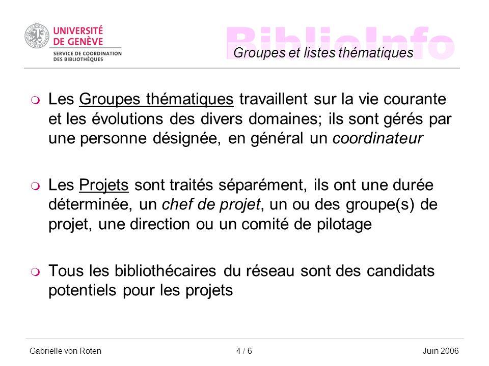 BiblioInfo Groupes et listes thématiques Gabrielle von RotenJuin 20064 / 6 Les Groupes thématiques travaillent sur la vie courante et les évolutions d