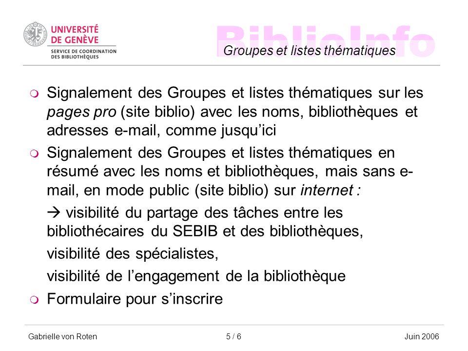 BiblioInfo Groupes et listes thématiques Gabrielle von RotenJuin 20065 / 6 Signalement des Groupes et listes thématiques sur les pages pro (site bibli