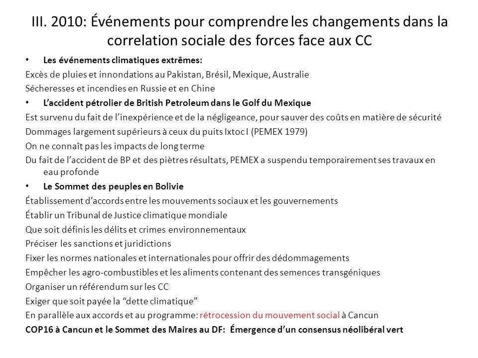 III. 2010: Événements pour comprendre les changements dans la correlation sociale des forces face aux CC Les événements climatiques extrêmes: Excès de