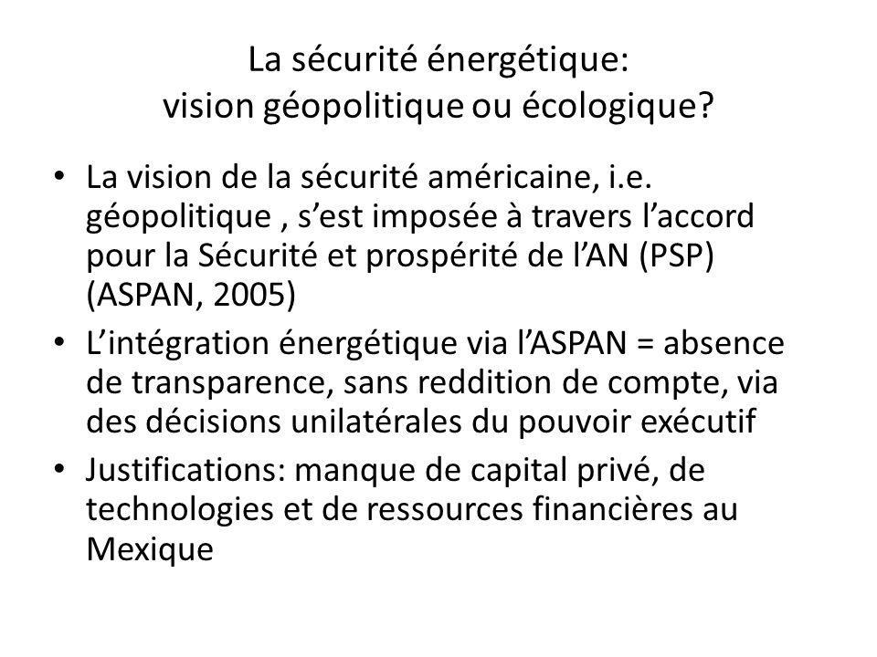 La sécurité énergétique: vision géopolitique ou écologique? La vision de la sécurité américaine, i.e. géopolitique, sest imposée à travers laccord pou