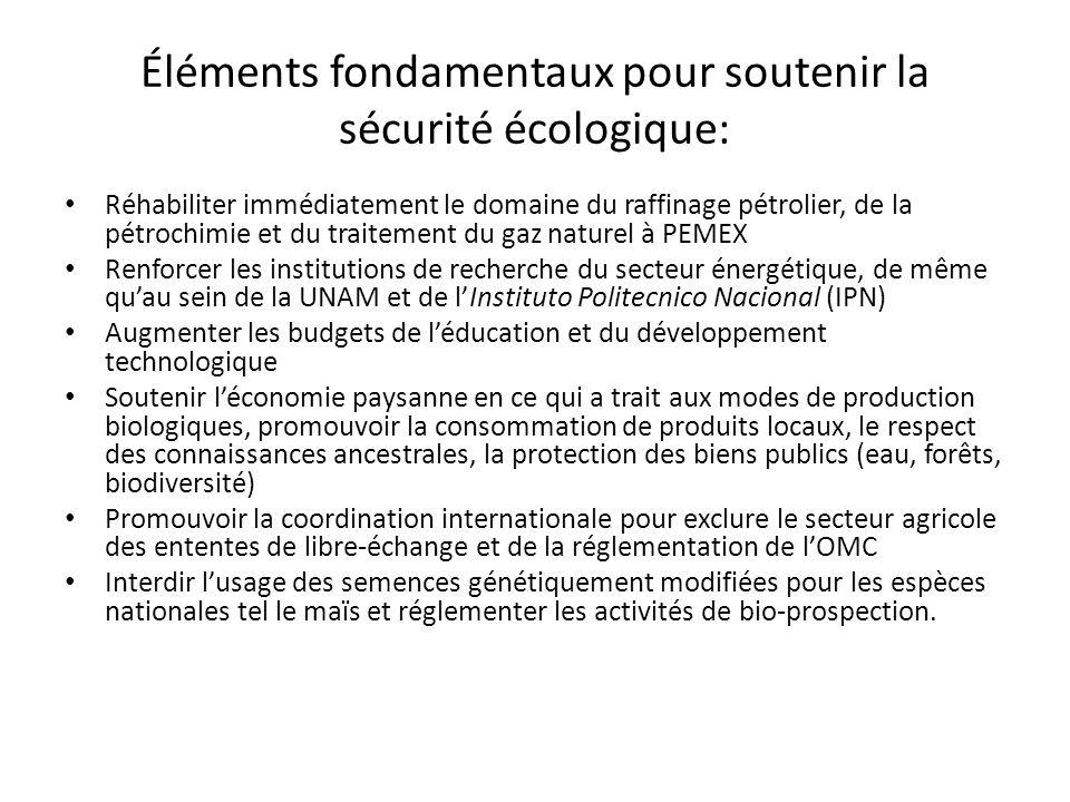 Éléments fondamentaux pour soutenir la sécurité écologique: Réhabiliter immédiatement le domaine du raffinage pétrolier, de la pétrochimie et du trait