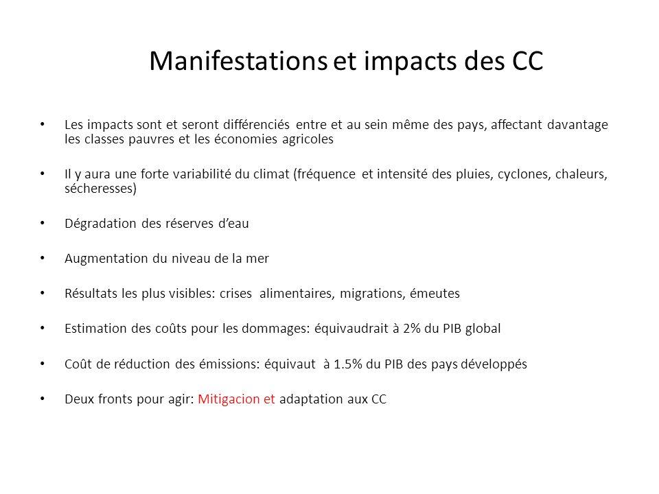 Manifestations et impacts des CC Les impacts sont et seront différenciés entre et au sein même des pays, affectant davantage les classes pauvres et le