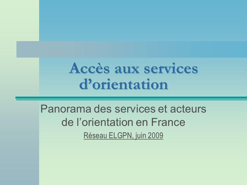 Accès aux services dorientation Panorama des services et acteurs de lorientation en France Réseau ELGPN, juin 2009