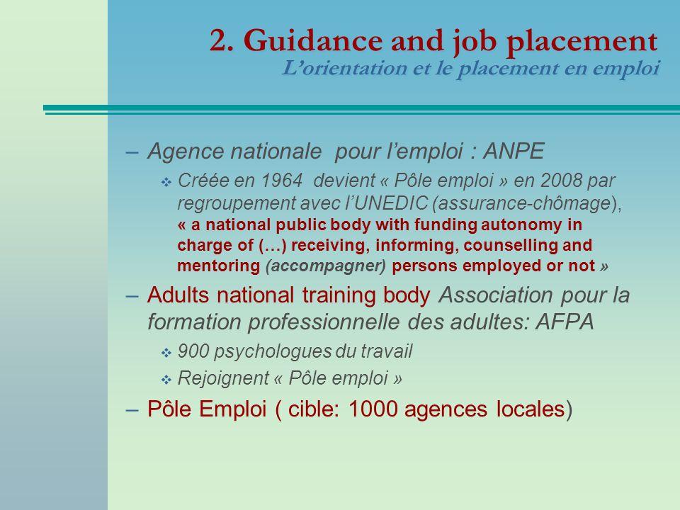 2. Guidance and job placement Lorientation et le placement en emploi –Agence nationale pour lemploi : ANPE Créée en 1964 devient « Pôle emploi » en 20