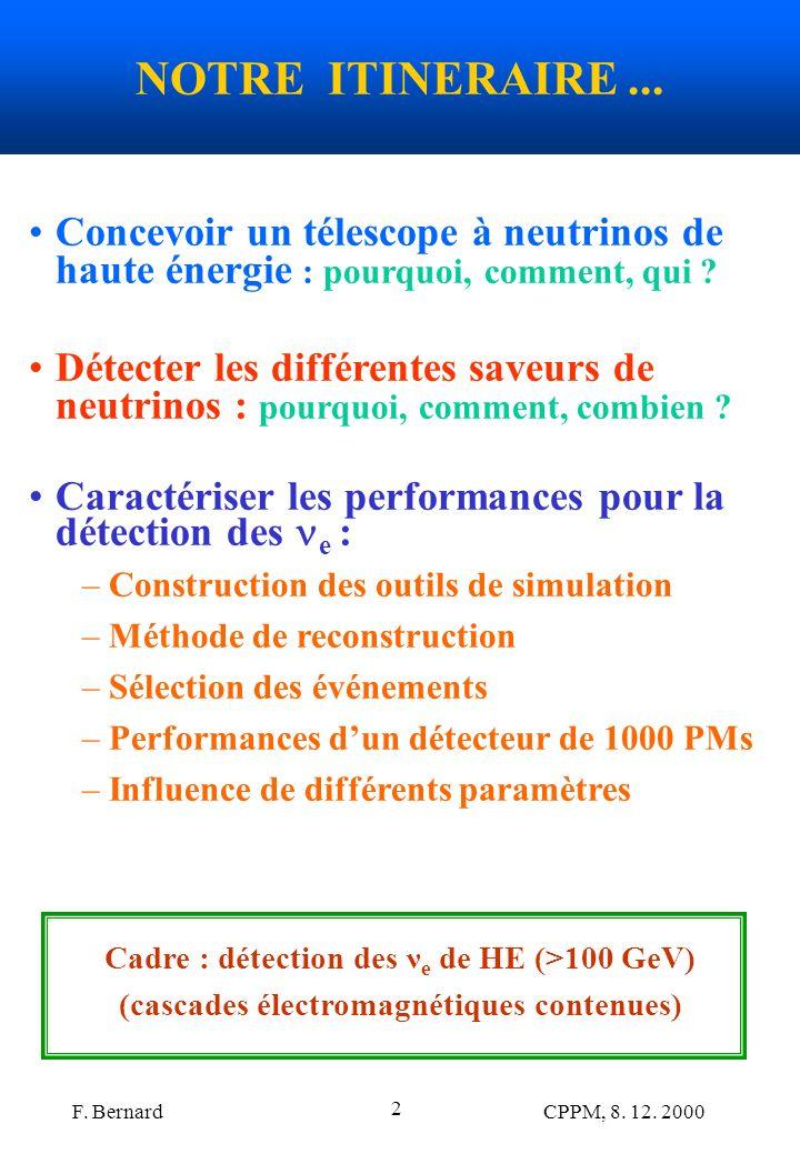 F. Bernard CPPM, 8. 12. 2000 2 NOTRE ITINERAIRE... Concevoir un télescope à neutrinos de haute énergie : pourquoi, comment, qui ? Détecter les différe