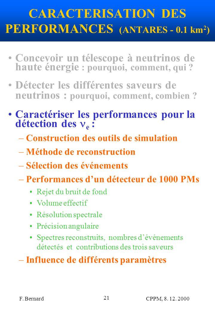 F. Bernard CPPM, 8. 12. 2000 21 CARACTERISATION DES PERFORMANCES (ANTARES - 0.1 km 2 ) Concevoir un télescope à neutrinos de haute énergie : pourquoi,