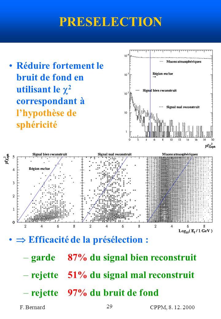 F. Bernard CPPM, 8. 12. 2000 29 PRESELECTION Efficacité de la présélection : –garde 87% du signal bien reconstruit –rejette 51% du signal mal reconstr