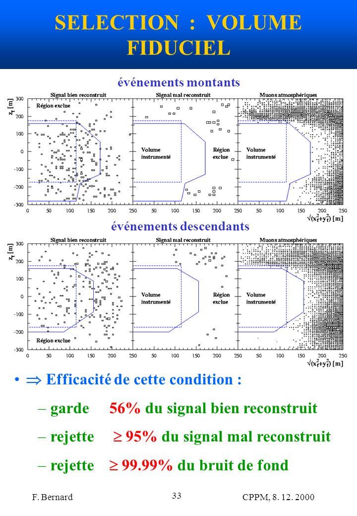 F. Bernard CPPM, 8. 12. 2000 33 SELECTION : VOLUME FIDUCIEL Efficacité de cette condition : –garde 56% du signal bien reconstruit –rejette 95% du sign