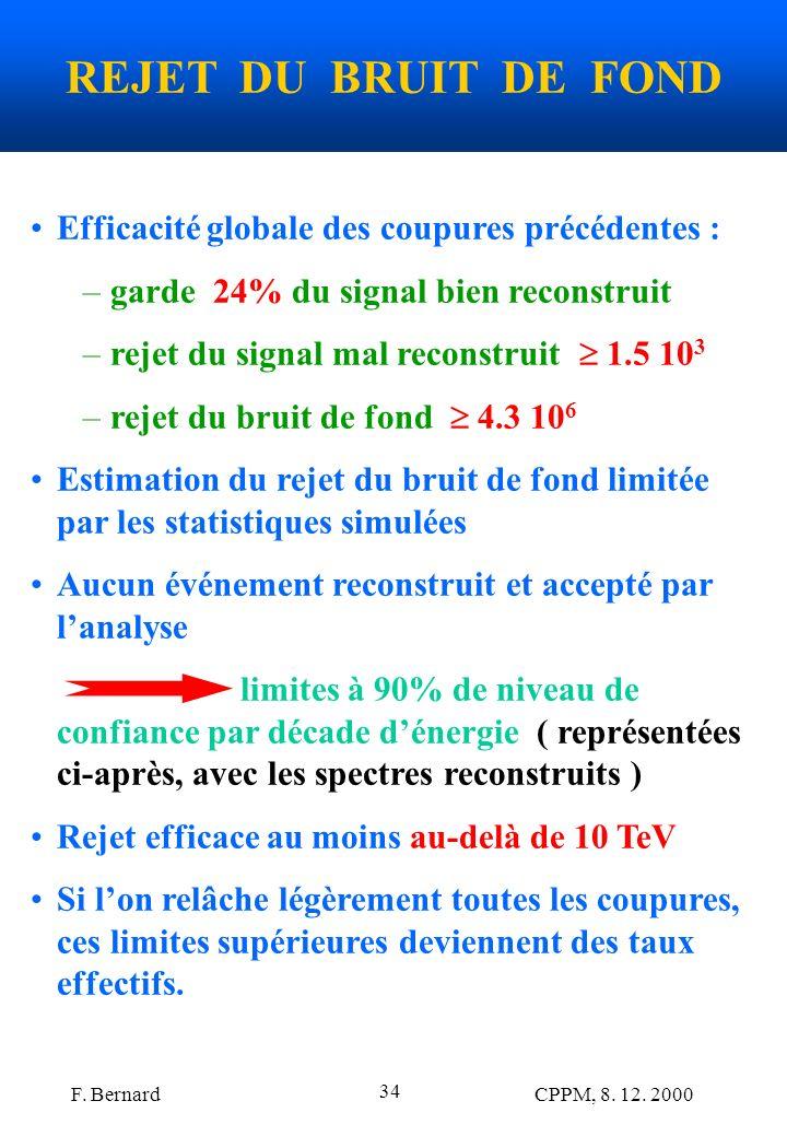F. Bernard CPPM, 8. 12. 2000 34 REJET DU BRUIT DE FOND Efficacité globale des coupures précédentes : –garde 24% du signal bien reconstruit –rejet du s