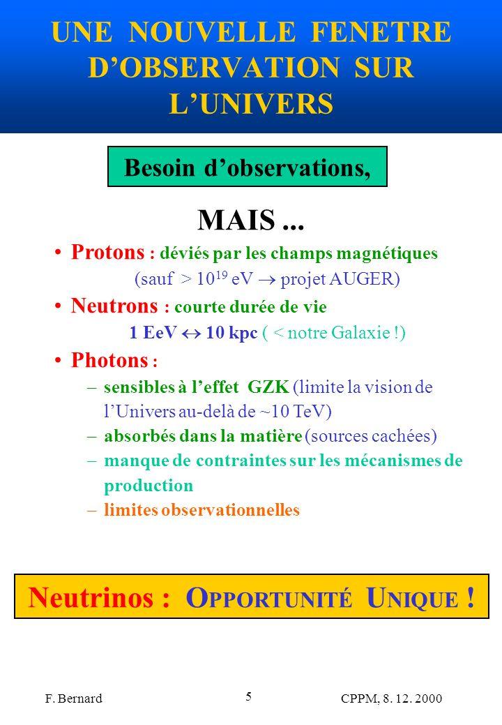 F. Bernard CPPM, 8. 12. 2000 5 UNE NOUVELLE FENETRE DOBSERVATION SUR LUNIVERS Besoin dobservations, MAIS... Protons : déviés par les champs magnétique