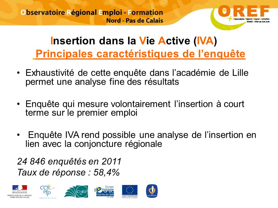 Insertion dans la Vie Active (IVA) Principales caractéristiques de lenquête Exhaustivité de cette enquête dans lacadémie de Lille permet une analyse f