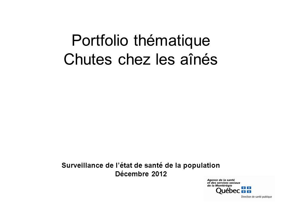 Portfolio thématique Chutes chez les aînés Surveillance de létat de santé de la population Décembre 2012