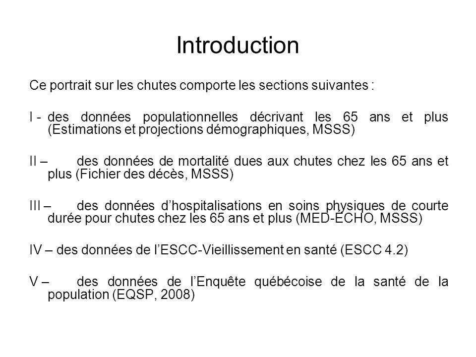 Introduction Ce portrait sur les chutes comporte les sections suivantes : I - des données populationnelles décrivant les 65 ans et plus (Estimations e