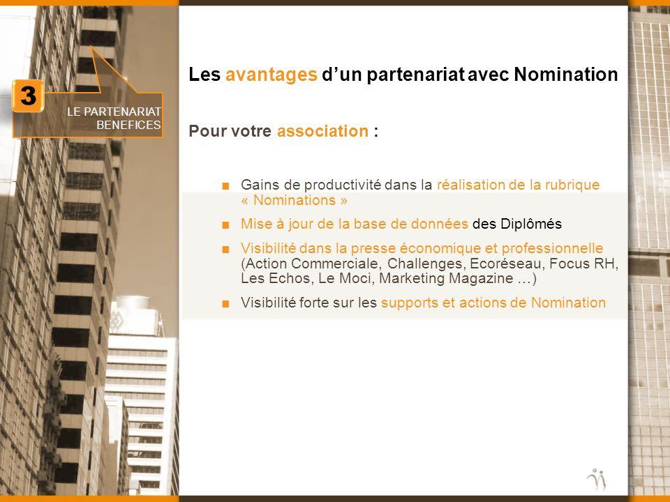 Les avantages dun partenariat avec Nomination Gains de productivité dans la réalisation de la rubrique « Nominations » Mise à jour de la base de donné