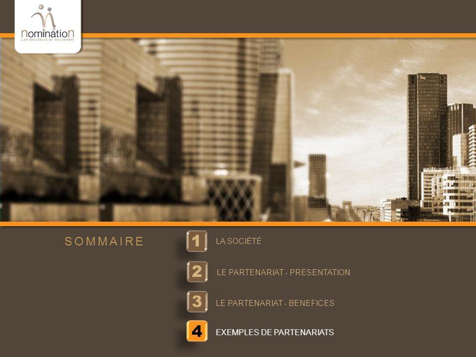www.nomination.fr 1 1 LA SOCIÉTÉ 2 2 LE PARTENARIAT - PRESENTATION 3 3 LE PARTENARIAT - BENEFICES SOMMAIRE 4 EXEMPLES DE PARTENARIATS