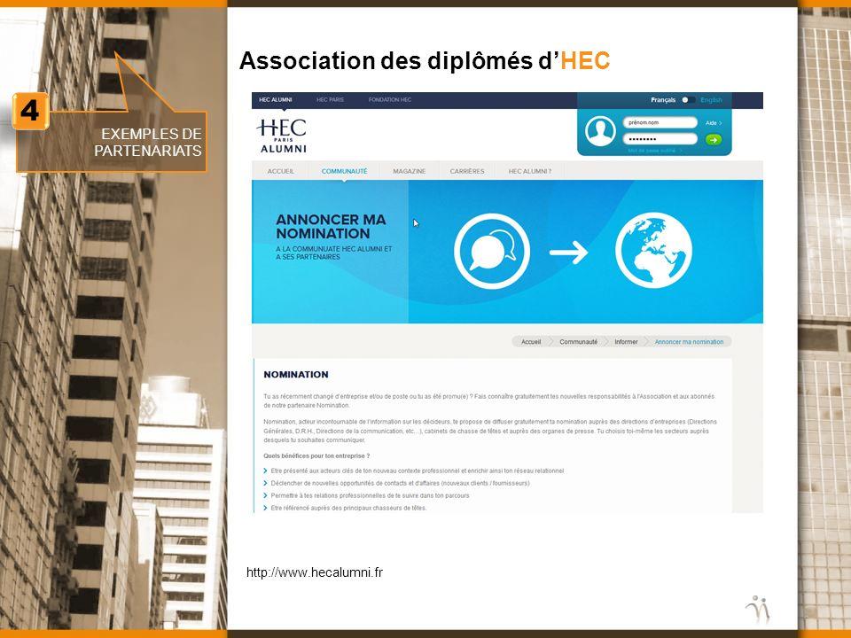 www.nomination.fr EXEMPLES DE PARTENARIATS Association des diplômés dHEC 4 4 http://www.hecalumni.fr