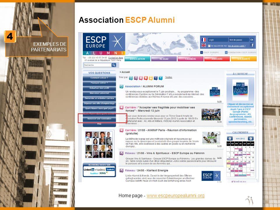 www.nomination.fr EXEMPLES DE PARTENARIATS Association ESCP Alumni 4 4 Home page - www.escpeuropealumni.orgwww.escpeuropealumni.org