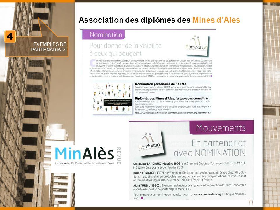 www.nomination.fr EXEMPLES DE PARTENARIATS Association des diplômés des Mines dAles 4 4