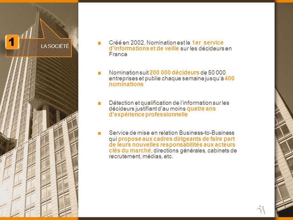 Créé en 2002, Nomination est le 1er service dinformations et de veille sur les décideurs en France Nomination suit 200 000 décideurs de 50 000 entrepr