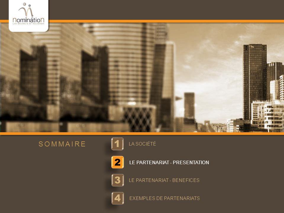 www.nomination.fr 1 1 LA SOCIÉTÉ 2 LE PARTENARIAT - PRESENTATION 3 3 LE PARTENARIAT - BENEFICES SOMMAIRE 4 4 EXEMPLES DE PARTENARIATS