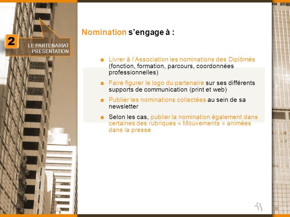 www.nomination.fr 2 2 LE PARTENARIAT PRESENTATION Nomination sengage à : Livrer à lAssociation les nominations des Diplômés (fonction, formation, parc