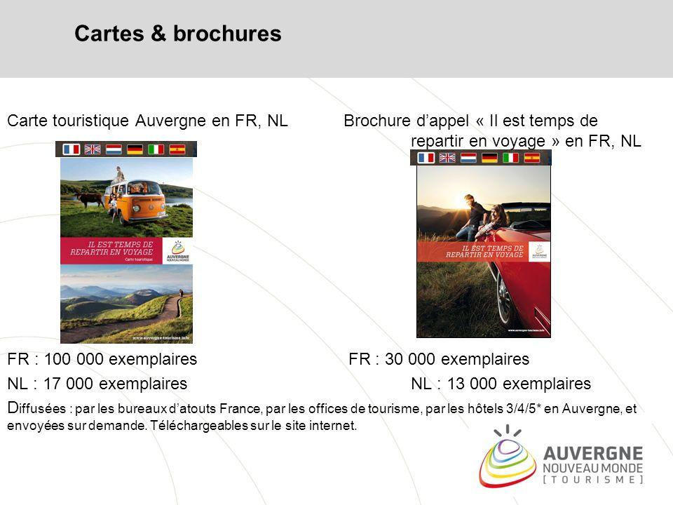 Brochures et vidéos Des fiches randonnées et cyclotourisme Brochure Nattitude (en UK) Brochure Auvergne Your New World FR, GB Des vidéos génériques et thématiques : film vitrine et nattitude en FR, NL (GB, All, ESP, ITA) http://vimeo.com/auvergne/albums => tous ces supports sont à disposition des partenaires Pour toute demande de documentation, vous pouvez contacter Ghislaine BORIE Tél : 04 73 29 49 69 – ghislaine.borie@crdt-auvergne.frghislaine.borie@crdt-auvergne.fr www.auvergne-tourisme.info