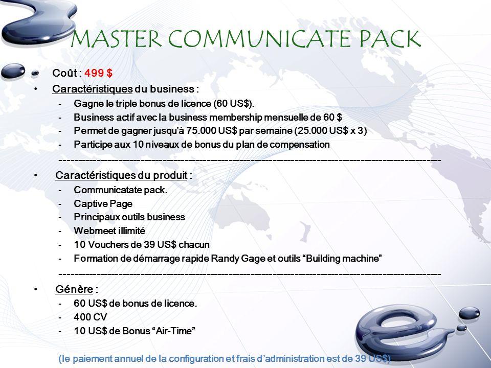 MASTER COMMUNICATE PACK Coût : 499 $ Caractéristiques du business : -Gagne le triple bonus de licence (60 US$).