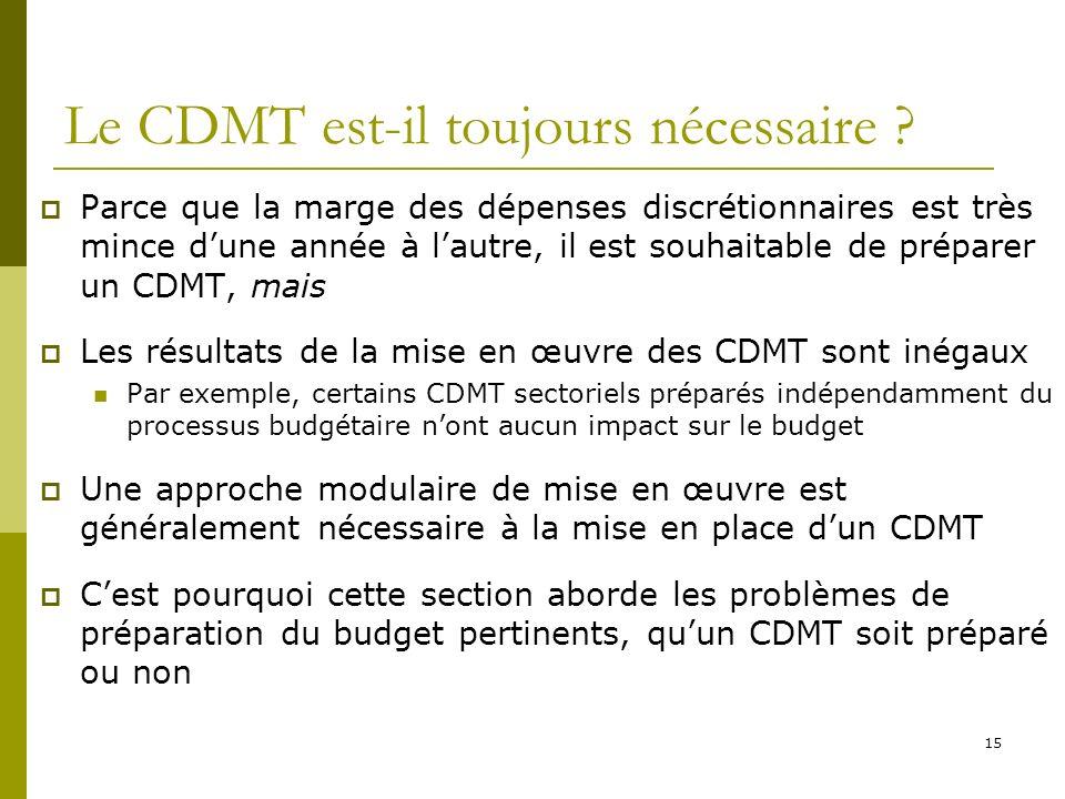 15 Le CDMT est-il toujours nécessaire ? Parce que la marge des dépenses discrétionnaires est très mince dune année à lautre, il est souhaitable de pré