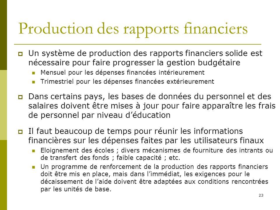 23 Production des rapports financiers Un système de production des rapports financiers solide est nécessaire pour faire progresser la gestion budgétai