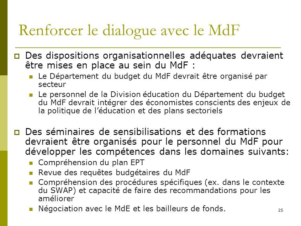 25 Renforcer le dialogue avec le MdF Des dispositions organisationnelles adéquates devraient être mises en place au sein du MdF : Le Département du bu